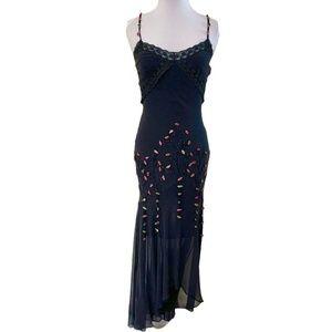 Vintage Sue Wong Black Silk Beaded Roses Gown